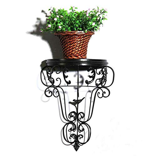 Wrought Iron Wall Décor Plant Flower Stand Hanging Shelf Indoor Outdoor 18 Inch Vintage Black (Iron Wrought Black Shelves)