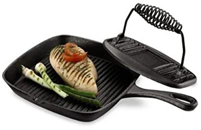 Cast Iron Grill Pan And Press Home Chef's Favorite Oven-safe up to 500 degrees