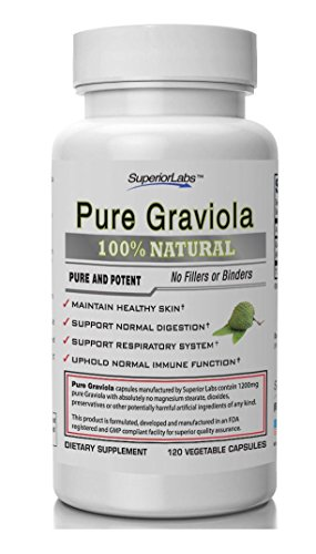 Superior Labs – Pure Natural Graviola NonGMO – 1,200mg, 120 Vegetable Caps– Natural Dietary Soursop Supplement – Healthy Skin & Helps Promotes Cell Growth – Respiratory System – Balanced Mood For Sale