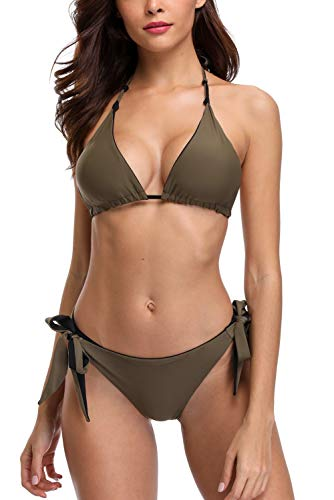 - Vegatos Women Halter Bikini Swimsuit Reversible String Bathing Suits Olive Green