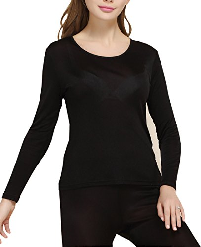 Fashion Silk Women's Thermal Underwear Sets Knit Silk Long johns for women Base Layering Sets(Large, Black)