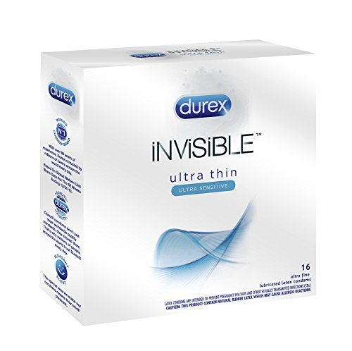 Durex Invisible Premium Lubricated Latex Condoms with Silver Pocket/Travel Case-16 Count
