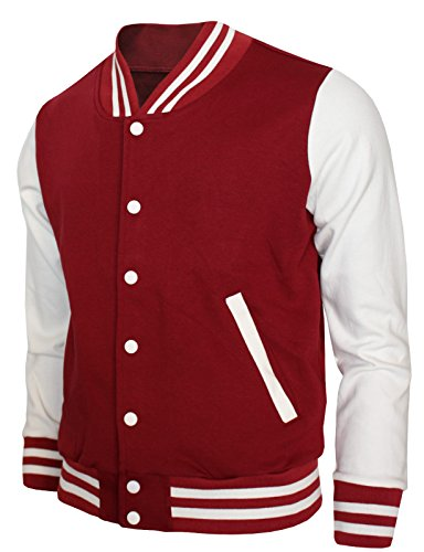 BCPOLO Baseball Jacket Varsity Baseball Cotton Jacket Letterman Jacket 8 Colors-Maroon M