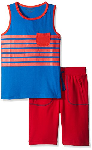 Cotton Terry Tank Top (Team8 Little Boys 2 Piece Set Striped Tank Top with French Terry Short, Victoria Blue/True Red,)