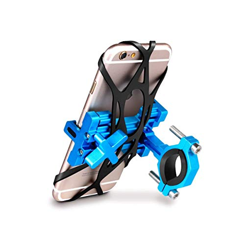 SpoLite Chrome Bike Phone Mount for Motorcycle-Bike-Bicycle Handlebars,Adjustable,Bike Phone Holder Fits Cell Phone iPhone X,8|8 Plus,7|7 Plus,6s|6s Plus,Galaxy S7,S6 for Cycling