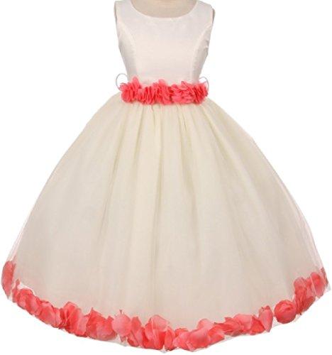 Little Girls Elegant Satin Ribbon Sash Petals Flowers Girls Dresses Ivory Coral 6