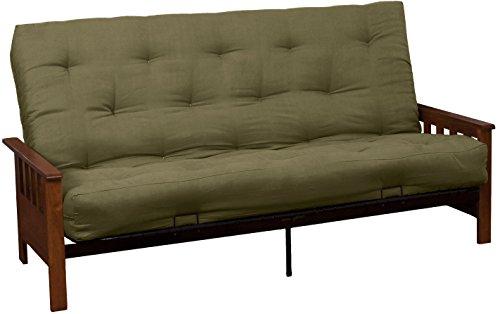 Epic Furnishings Berkeley 8-Inch Loft Inner Spring Futon Sofa Sleeper Bed, Full-size, Walnut Arm Finish, Microfiber Suede Olive Green (Sleeper Steel Sofa)