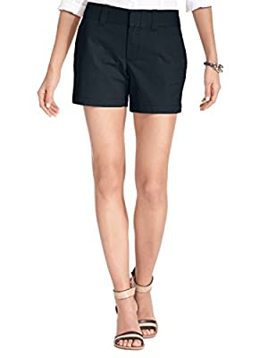 Tommy Hilfiger Womens Twill Solid Khaki, Chino Shorts