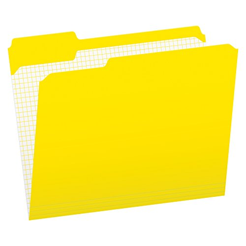 Pendaflex Color File Folders with Interior Grid, Letter Size, Yellow, 1/3 Cut, 100/BX (R152 1/3 YEL)