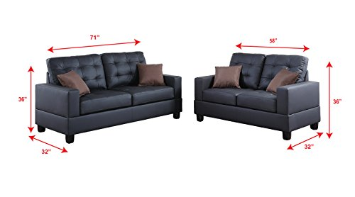 Poundex F7855 Bobkona Aria Faux Leather 2 Piece Sofa and Loveseat Set, Black