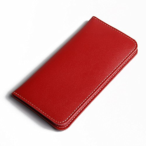 Apple iPhone 7 Case, Leather Case, Pouch, Holster, Wallet Case, Protective Case, Phone Case - Simple Leather Wallet Case (Red) by Pdair