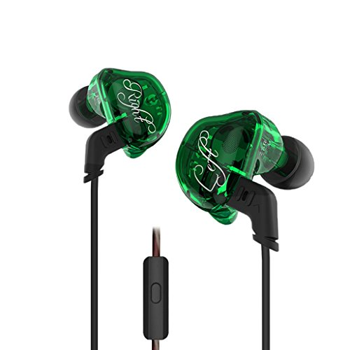 Homyl In Ear Earphone Hifi Stereo Deep Bass Earbuds with 0.75mm Gold Plated Pin Green by Homyl