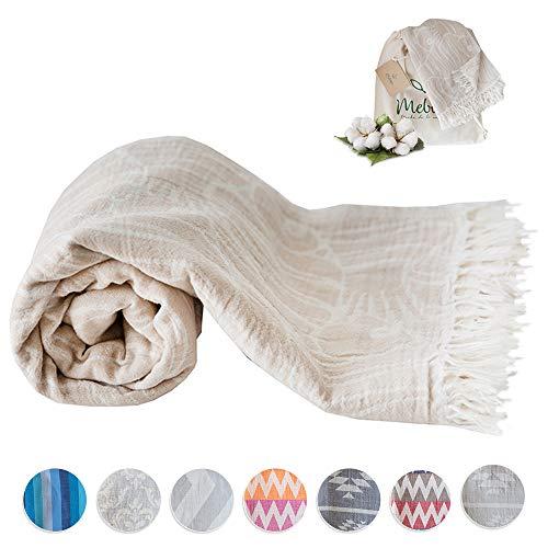 (Mebien Turkish Beach Bath Towel-Ocean Design Beige Fish Luxury peshtemal for spa Pool Bathroom Sand Free%100 Cotton Blanket Towels Set, Gift for Women Sizes: 33x66 inches)