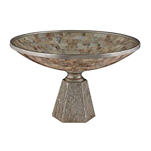 Sterling Industries 112-1129 Mother of Pearl Bowl Set on Silver Leaf Base Sterling Silver Vase
