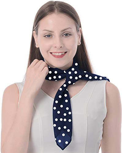 50s Scarf 50s Costume Scarf Retro Classic Square Scarf Poodle Skirt Polka Dot Navy]()