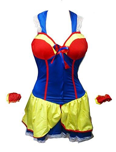 Bslingerie Women Halloween Snow White Princess Costume Dress (M, Blue)