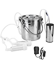 Electric Milking Machine Kit,5L Portable Stainless Steel Household High Configuration Double Head Electric Milking Machine with Vacuum-Pulse Pump for Sheep Goat Cow