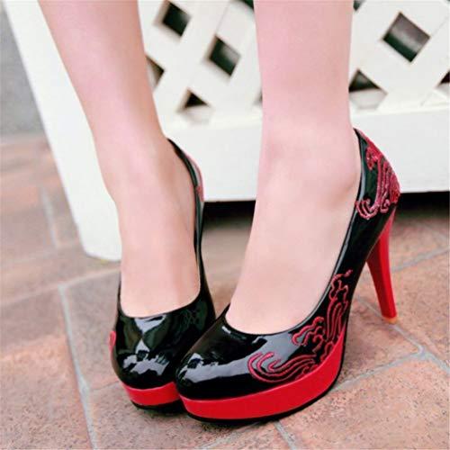 Rondes Hauts de Talons Sexy Aiguilles Noir Les Chaussures élégante Pompes Talons Cuir Femmes Plate Forme Mode en Talons xpn86wfqv