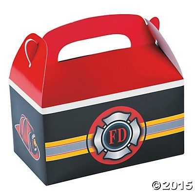 Set of 12 Firefighter Heroes Treat Boxes Party Supplies and Favors (Firefighter Decorations Party)