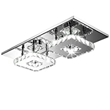 Fuloon Modern Contemporary Crystal LED Hanging Ceiling Light Mental Pendant Flush Lamp Stainless Steel Fixture Lighting Chandelier Decor for Indoor Hallway Foyer Dining Living Room Bedroom(2 Cool White Light)