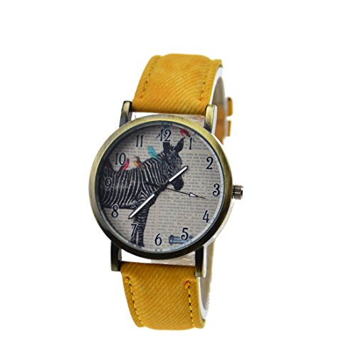 The Zebra Figure Retro Fashion Casual Leather Digital Dial Quartz Wrist Watches ( Yellow )