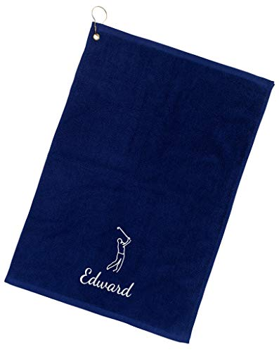 101 BEACH Personalized with Embroidered Monogram or Name Golf Towel with Clip (Navy - Embroidered - Personalized Towel Name Golf