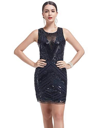 KILOLONE 1920s Art Deco 20s Gatsby Party Cocktail Flapper Dress Evening Prom Dress Blue