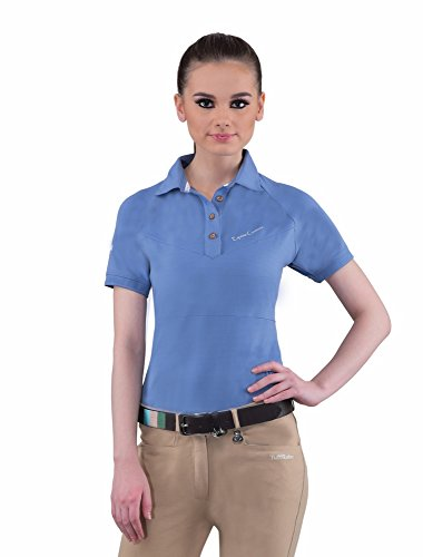 Equine Couture Women's Performance Short Sleeve Polo Shirt | Ladies Horse Riding Equestrian Shirt (Riding Stretch Shirt)
