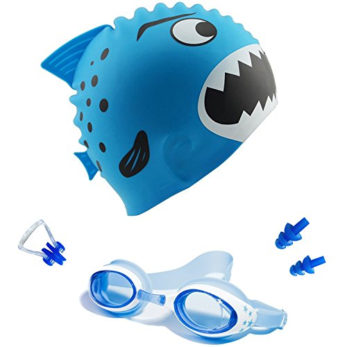 Filter Pool Equipment Package (Hovillage Kids Fun Silicone Swim Cap, Sharks Kids' Silicone Swim Cap for Boys and Girls Aged 3-12 (Blue Set))