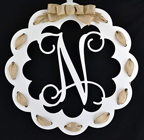 Letter N - Monogrammed Door Hanger | Mom Gift | White and Burlap Everyday Year Letter Door Hanger