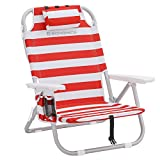 SONGMICS Beach Chair, Portable, Aluminium, with Cooler Pocket, Bottle Holder, and Pillow, Foldable, Reclinable, Light, Durable, Outdoor Chair, Red and White Stripes GCB63BU