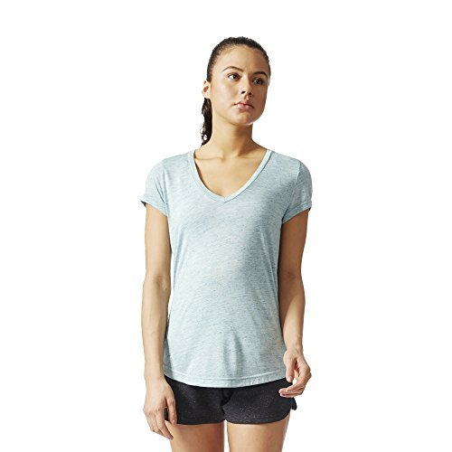 adidas Womens Athletics Graphic V Neck Tee, Tactile Green, 2XS