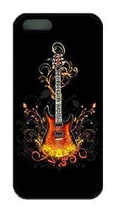 3D Guitar TPU Black spec iphone 5c case for Apple iphone 5c