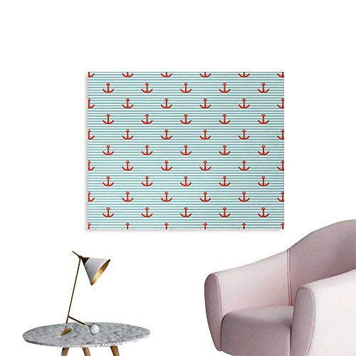 (homehot Anchor Wall Poster Pastel Stripes Background with Monochrome Anchor Silhouettes Naval Wall Paper Vermilion Turquoise White W32 xL24)