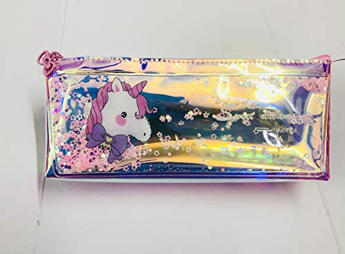 Paaroots Metallic Colors Holographic Shimmery Water Pouches Pencil Case Travelling Bag Cosmetic Pouch for Girls Women