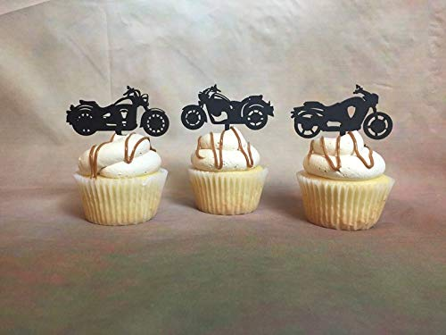Motorcycle Cupcake Toppers, Harley Davidson Cupcake Topper, Rugged Cupcake Toppers, Edgy Cupcake Toppers, Biker Cake Topper, Cupcake Topper -