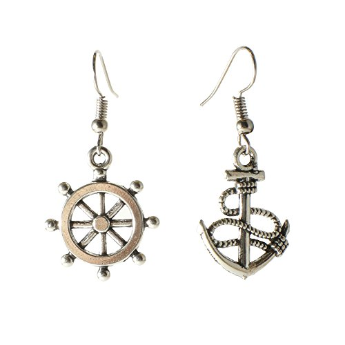 Fashion Silvertone Niello Anchor Helm Dangle Earrings Nautical Marine Maritime Jewelry (Anchor Silver) (Anchor Drop Earrings)