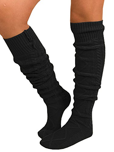 Nulibenna Women Fuzzy Socks Winter Knee High Cable Knit Comfy Boot Socks - Knee Socks Juniors High