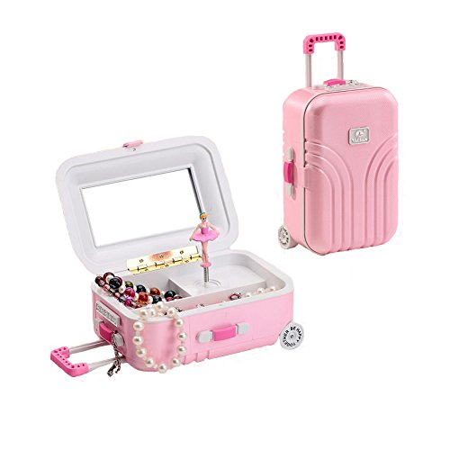 Music Box Dancer Costume - Bluestar Kids Musical Jewelry Box for Girls, Trolley Case Style Ballerina Jewelry Music Box with Mirrors