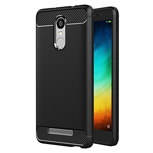 Case for Xiaomi Redmi Note 3 (5.5 inch) Soft Silicon Luxury Brushed with Texture Carbon Fiber Design Protection Cover (Black)
