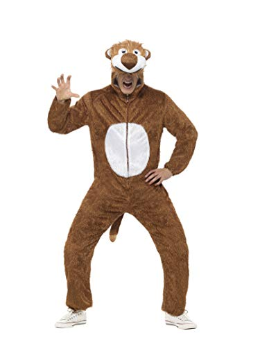 Smiffys Adult Unisex Lion Costume, Jumpsuit with Hood, Party Animals, Serious Fun, Size M, 31678 -