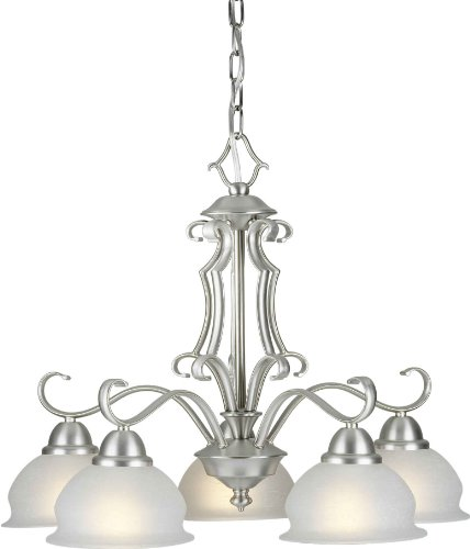 Forte Lighting 2408-05-55 Chandelier with White Linen Glass Shades, Brushed Nickel