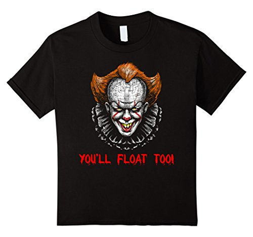 [Kids Clown Halloween Costumes for Adults You'll Float Too T-shirt 10 Black] (Dora Costume For Adults)