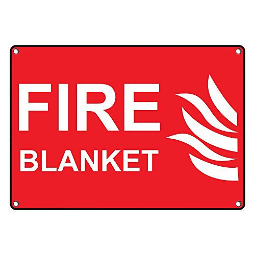 Weatherproof Plastic Fire Blanket Sign with English Text and Symbol