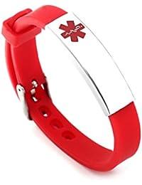 Free Engraving Surgical Steel and Rubber Medical Alert ID Bracelets Adjustable Size