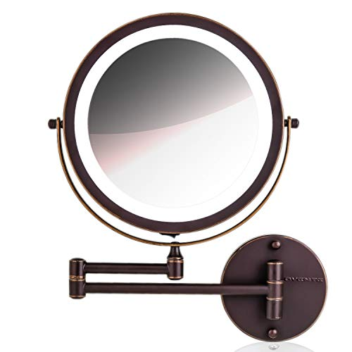 Ovente Wall Mount Mirror, 1/10 Magnification, LED Ring Light, 8.5
