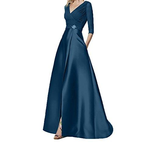 Tinte Damen Charmant A Ballkleider Blau Abendkleider Festlichkleider Chiffon Linie Abschlussballkleider Elegant Lang Blau P6dxFqw6