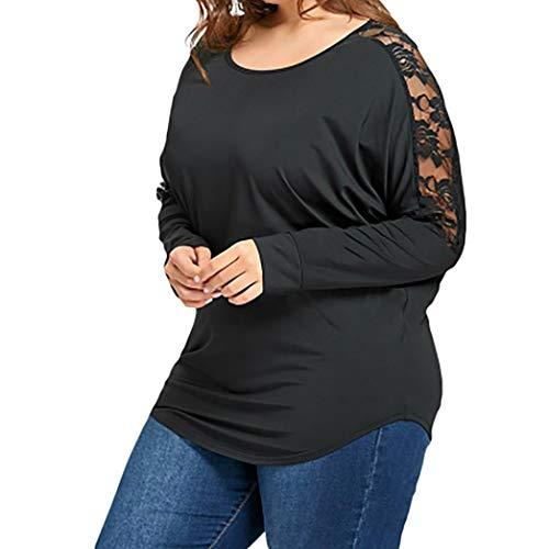 AIMEE7 T Shirt Femme Grande Taill Dentelle d'pissure Dos Nu Tops Haut Manches Longues Noir