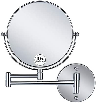 GloRiastar 10X Magnification Wall Mounted Makeup Mirror – Double Sided Magnifying Makeup Mirror for Bathroom, 8 inch Extension Polished Chrome Finished Mirror