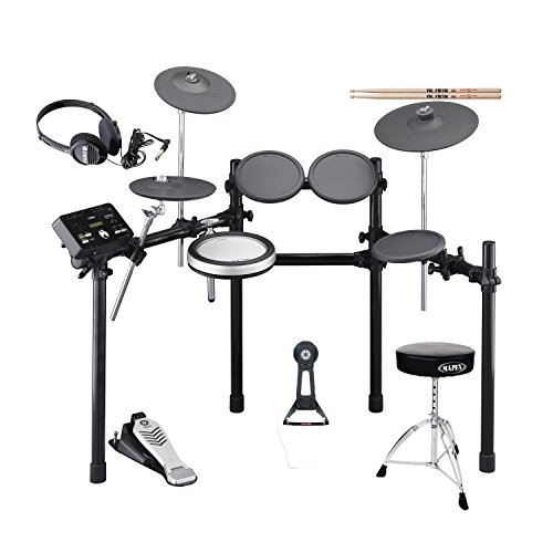 Yamaha DTX522K Electronic Drum Set(Drum Pedal not included) with Throne,Drum Sticks and Stereo Headphone (Tom Case Rack)